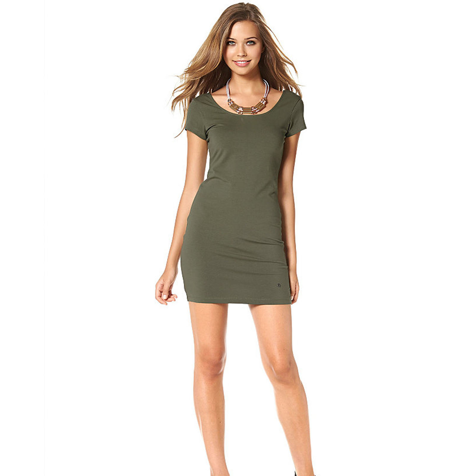 sommerkleid khaki stretch sexy mini dress 42 44 46 50 52 kleid l xl xxl. Black Bedroom Furniture Sets. Home Design Ideas